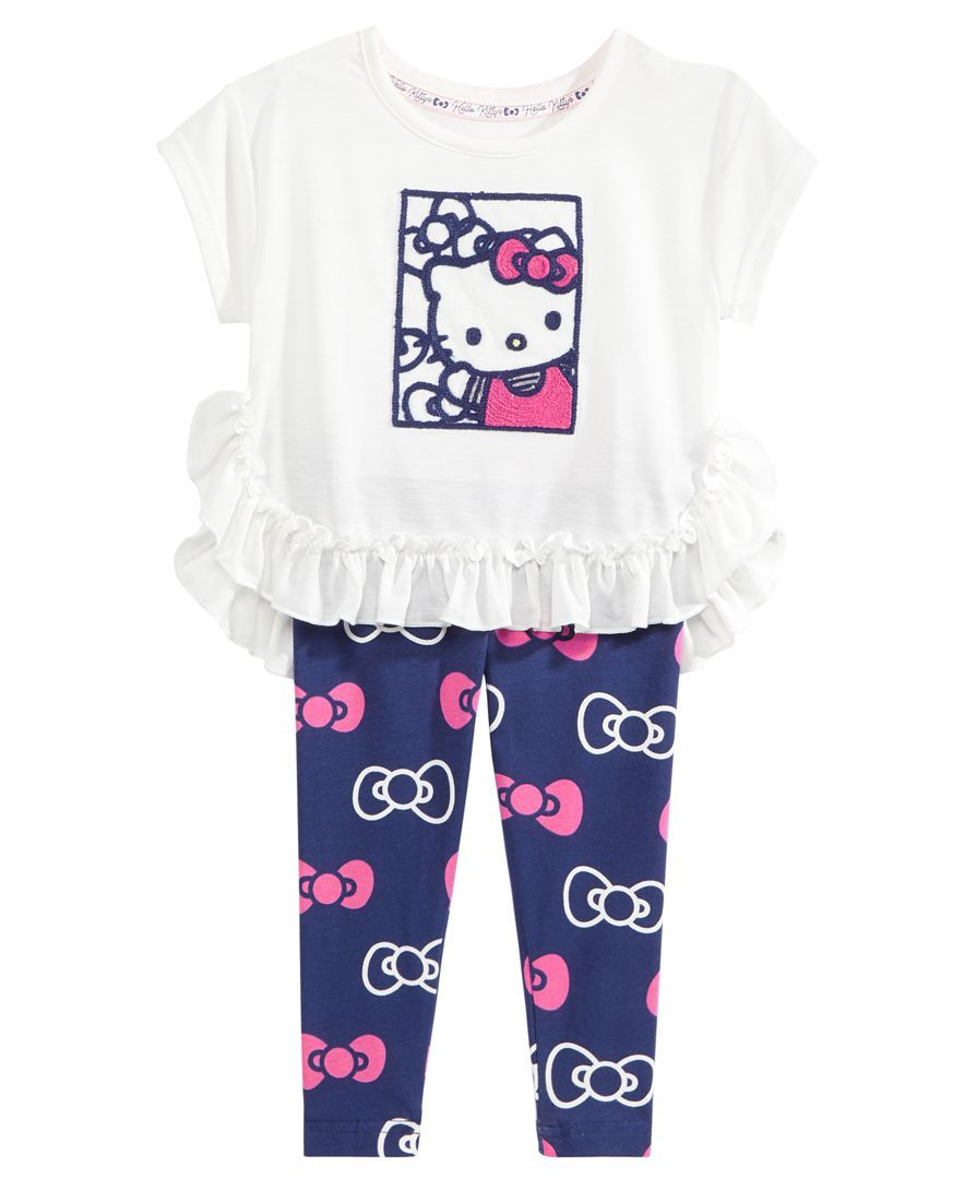 404e436d1 Hello Kitty 2-Pc. Ruffled Top & Printed Leggings Set, Baby Girls (0 ...