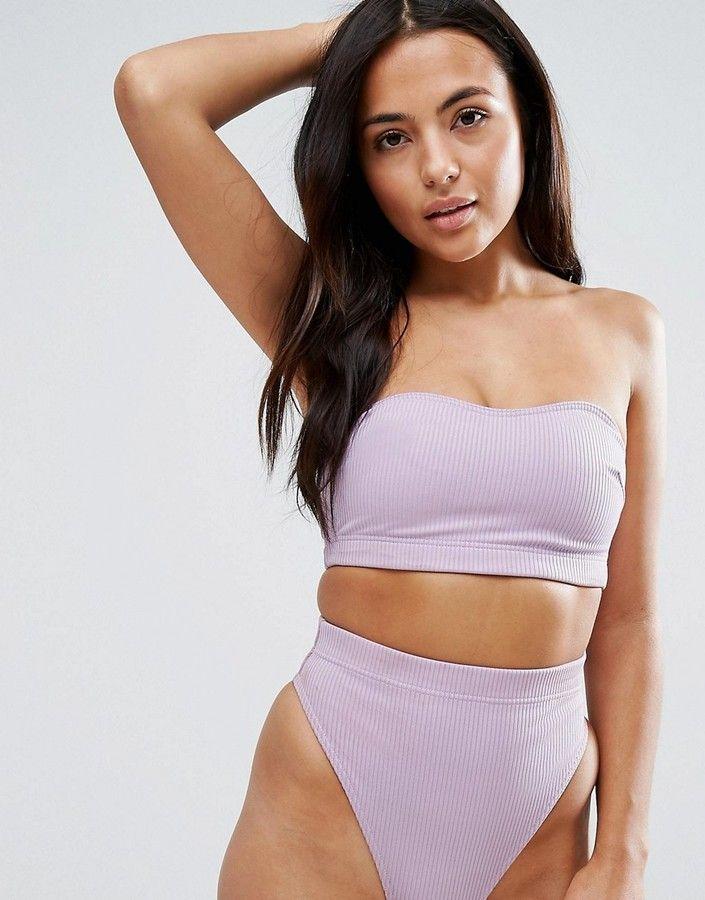 da822360e2f21 Asos FULLER BUST Mix and Match Clean Longline Bandeau Bikini Top in Rib  with Detachable Straps