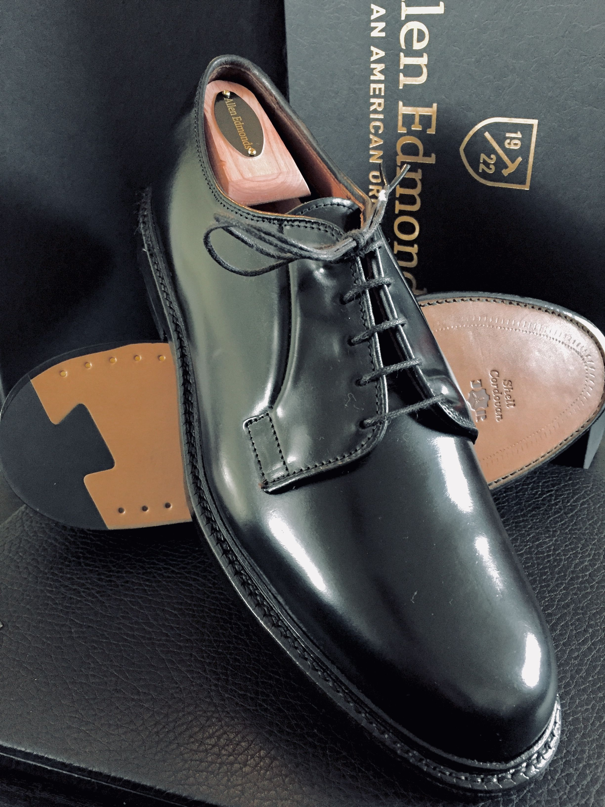 "da41f4e326f5e ... ""Leeds"" Plain Toe Blucher Men s Dress Shoes in Genuine Horween Black  Shell Cordovan with Double J. Rendenbach Leather Soles"