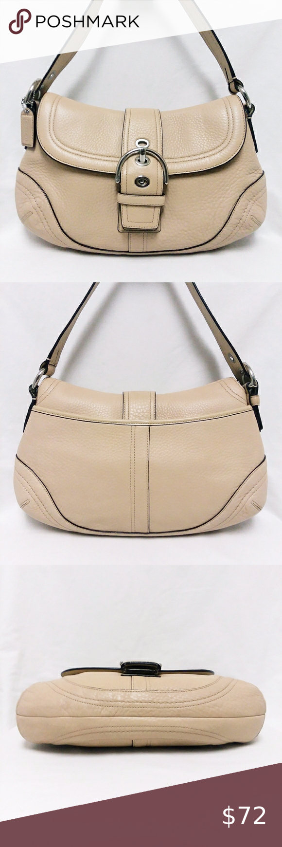 Coach Tan Leather Signature Hobo Bag 100% authentic. Serial number A0878-F10910. Tan leather large hobo bag. This handbag was very well maintained. No stains on the inside or outside and no cracks or peeling on the leather. Super clean with no flaws. This handbag is in good condition.  **All items listed in this closet are authentic and in good condition. Coach Bags Hobos