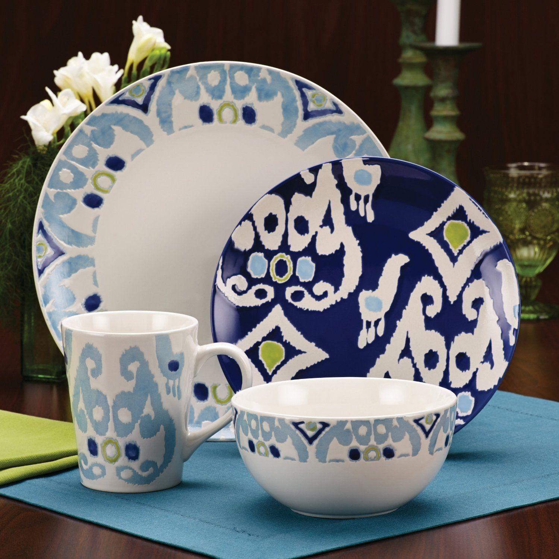 Rachael Ray Dinnerware Ikat Collection 16 Piece Set Blue New Free ...