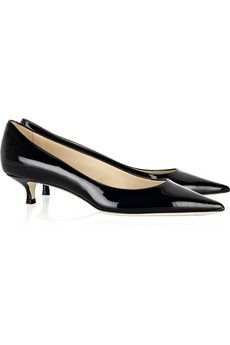 Black Lennox Patent Leather Pumps Jimmy Choo Kitten Heel Pumps Kitten Heel Shoes Heels