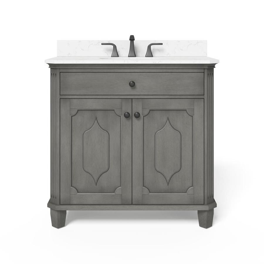 Allen Roth Whitney 36 In Antique Gray Undermount Single Sink Bathroom Vanity With White Carrera Engineered Stone Top Lowes Com In 2021 Single Sink Bathroom Vanity Bathroom Sink Vanity 36 Inch Bathroom Vanity