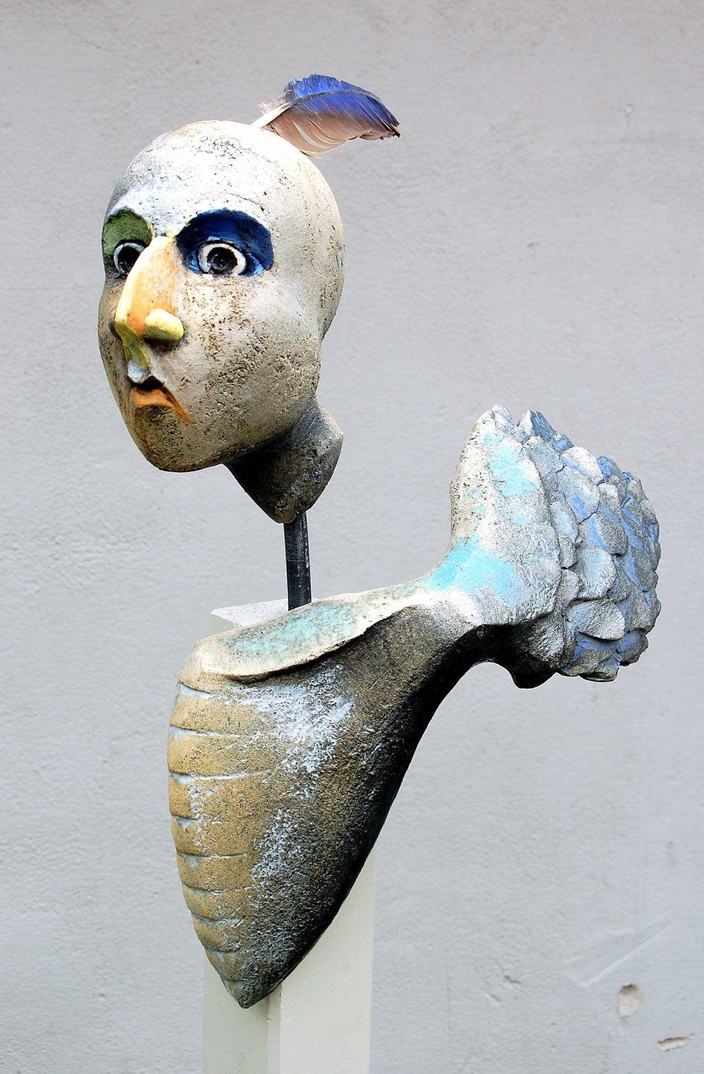 Blue - bird man - sculpture - fenix - Fagel Fenix III - Gitte Lind