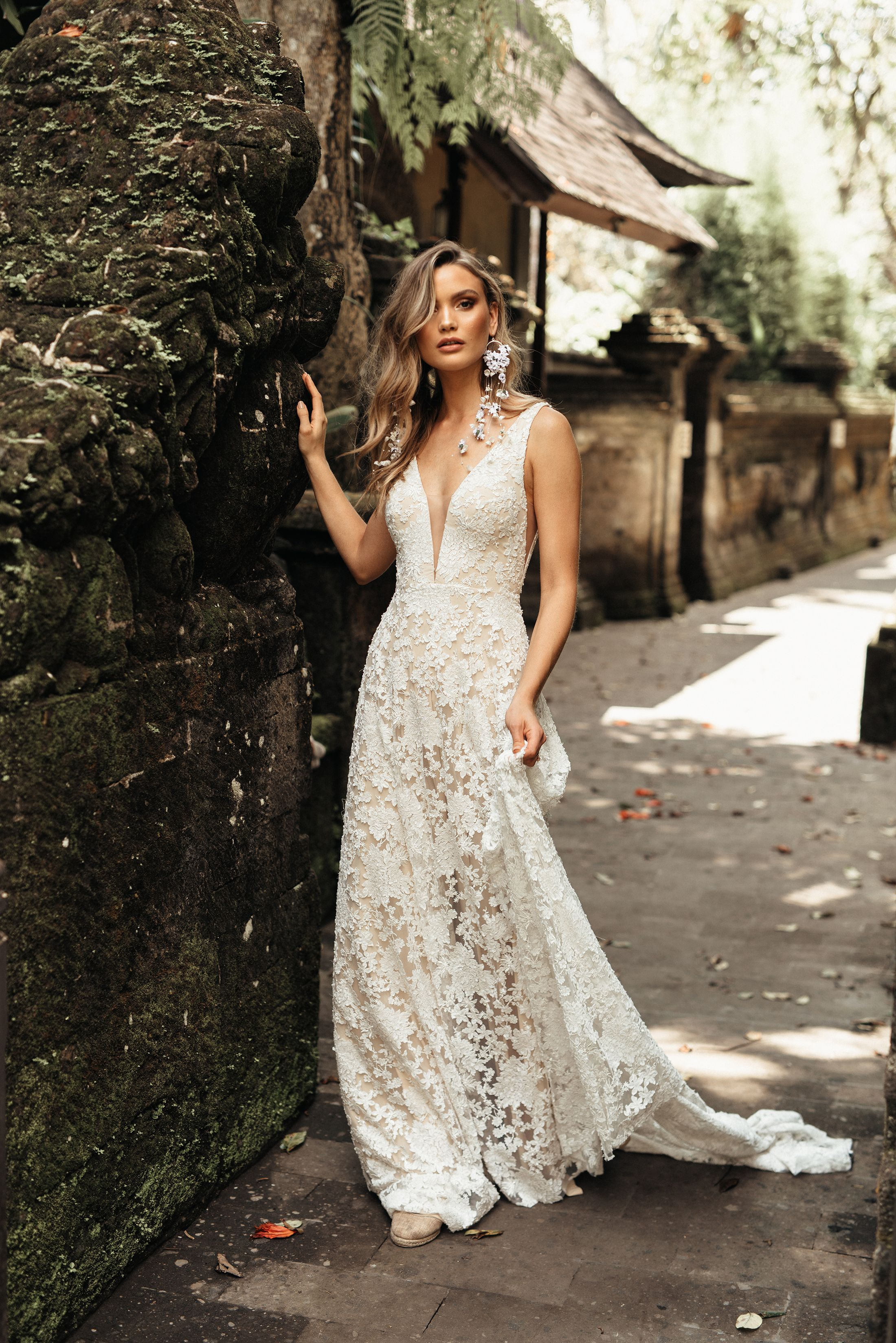 V neck white lace dress may 2019 Tara Lauren  Collection  Weure getting married in
