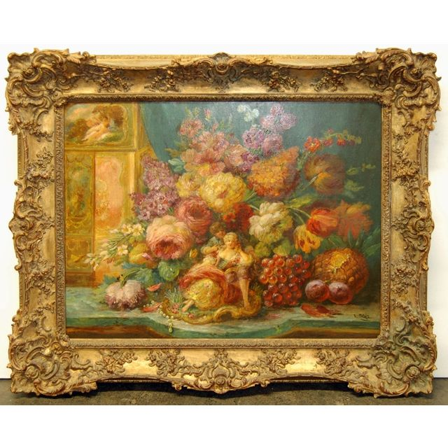 beautiful oil on canvas painting of a basket of roses surrounded by various fruits silas and in original gilt wood frame - Wood Frames For Canvas Paintings