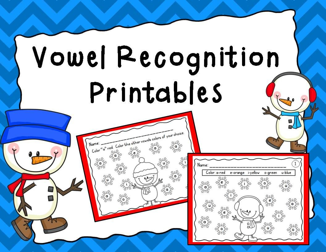 Vowel Recognition Printables Winter Theme