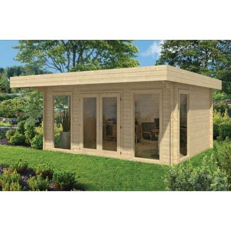 Chalet salon de jardin en bois yorick madriers en sapin du nord 45mm - maison bois en kit toit plat
