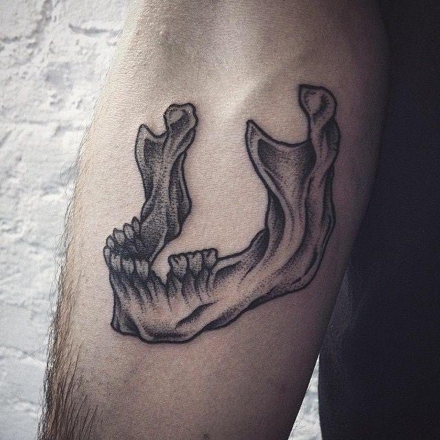 Skull Jaw Tattoo: Black, White, Grey Skull Jaw Teeth Tattoo Design, Detailed