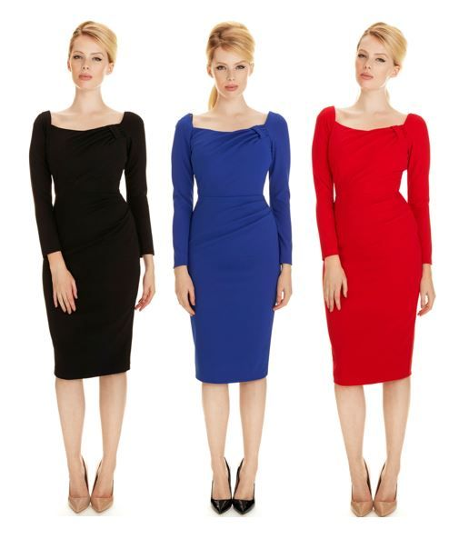 Introducing our Dakota Dress! Available in black, cobalt or red, our latest design is created using a stretch French crepe fabric. With an intricate ruched neckline and flattering full-length sleeves, it's perfect for any occasion, any time #fashion #style #newin #AW15 #elegant #chic #classic #sophisticated #LBD #littleblackdress #theprettydress #theprettydresscompany