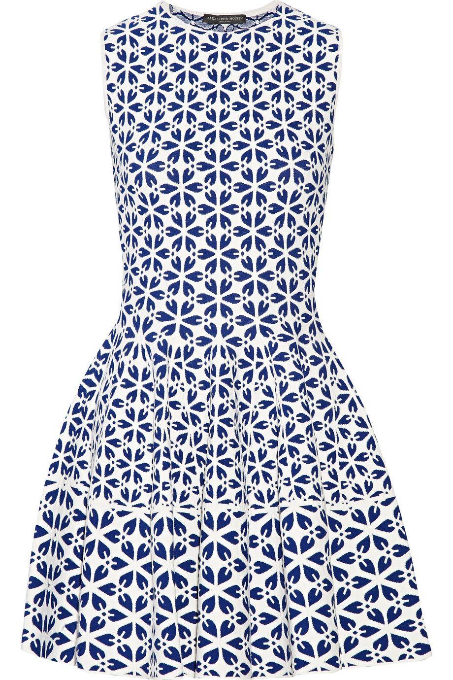 Alexander Mcqueen Jacquard Knit Mini Dress Net A