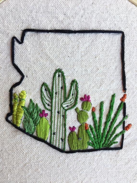 arizona cactus embroidery hoop #arizonacactus arizona cactus embroidery hoop | Etsy #arizonacactus