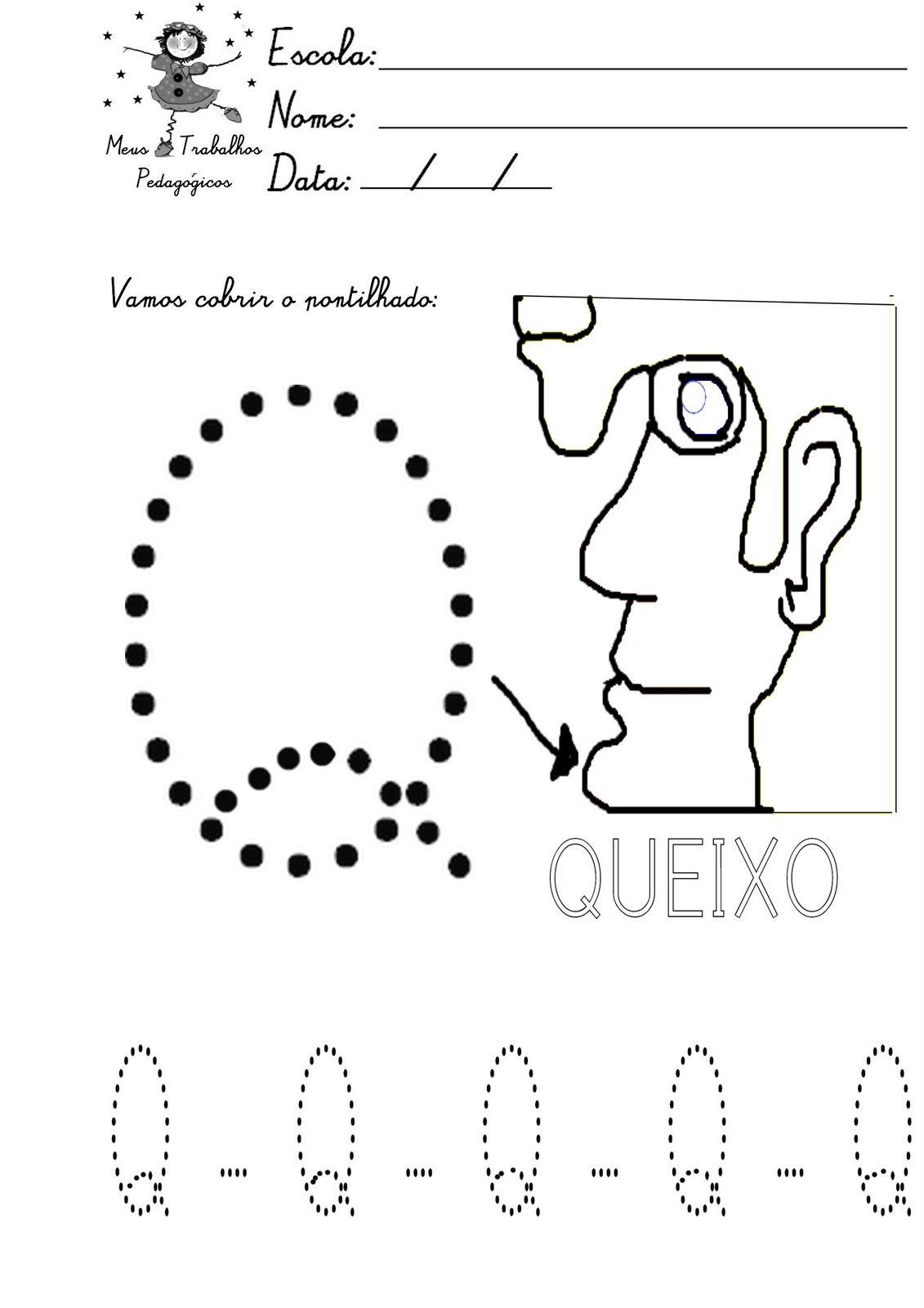 Alfabeto Pontilhado Para Colorir Letra Q Atividades
