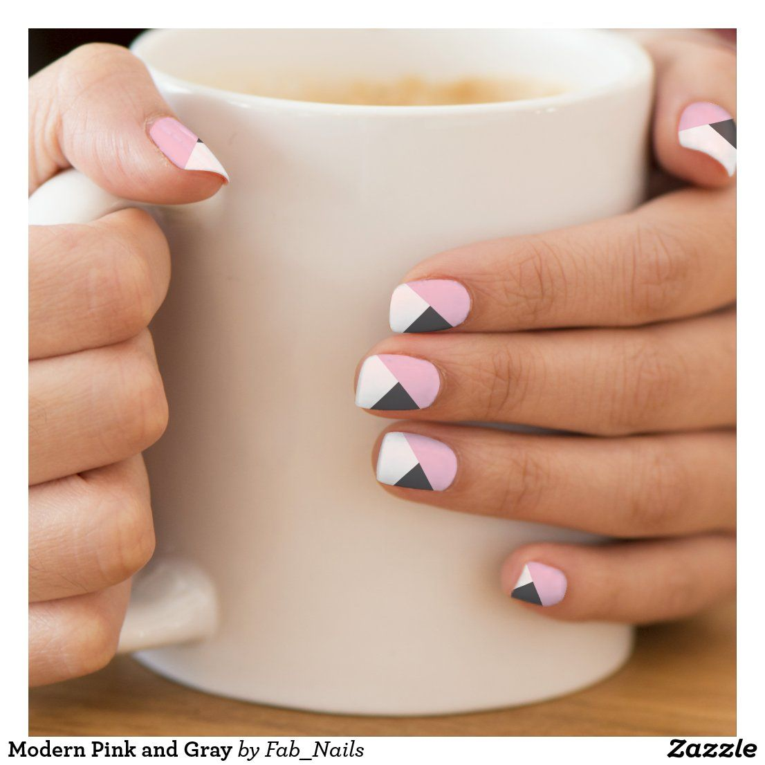 Modern Pink and Gray Minx Nail Wraps | Zazzle.com