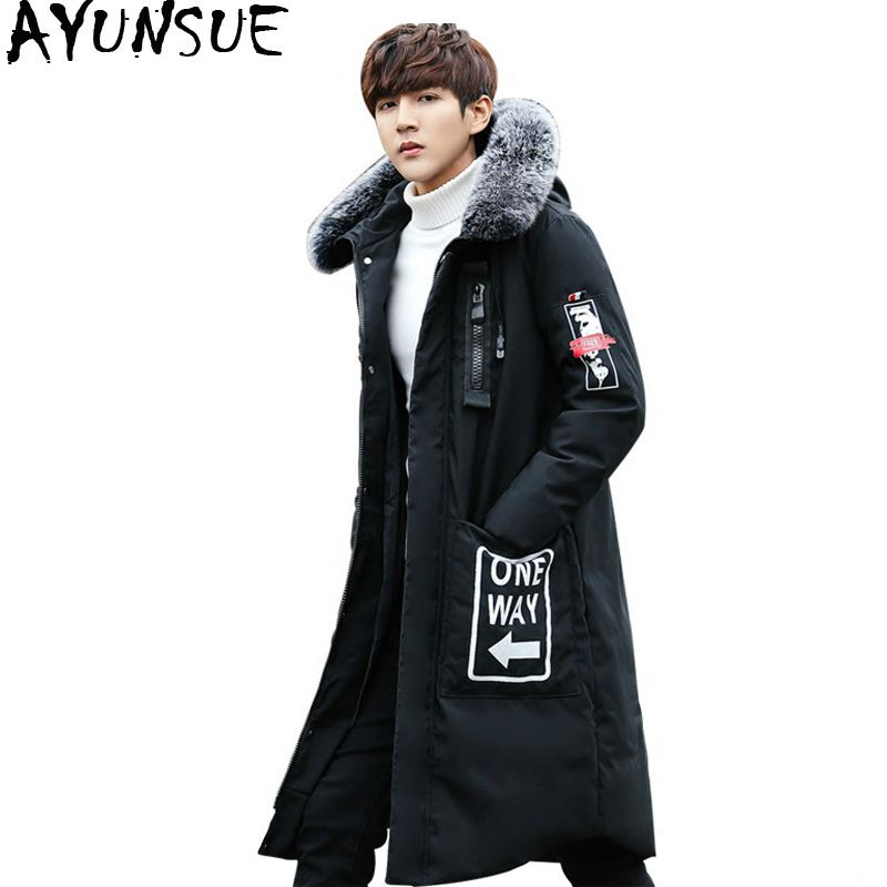 cadf04e3b596b AYUNSUE Down Jacket Men Winter Long Casual Thicken Slim Korean Real Fur  Collar Men s Jackets Coat for Men Abrigo Hombre KJ503 Review