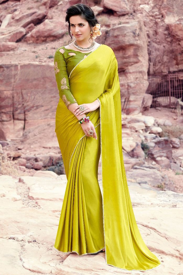 65772d3d963ca0 This Super Stylish Satin,Silk Fabric Saree Is Exclusively Crafted With  Embroidery,Lace Work Work. The Green Colour Saree Comes With Matching Blouse  Fabric ...