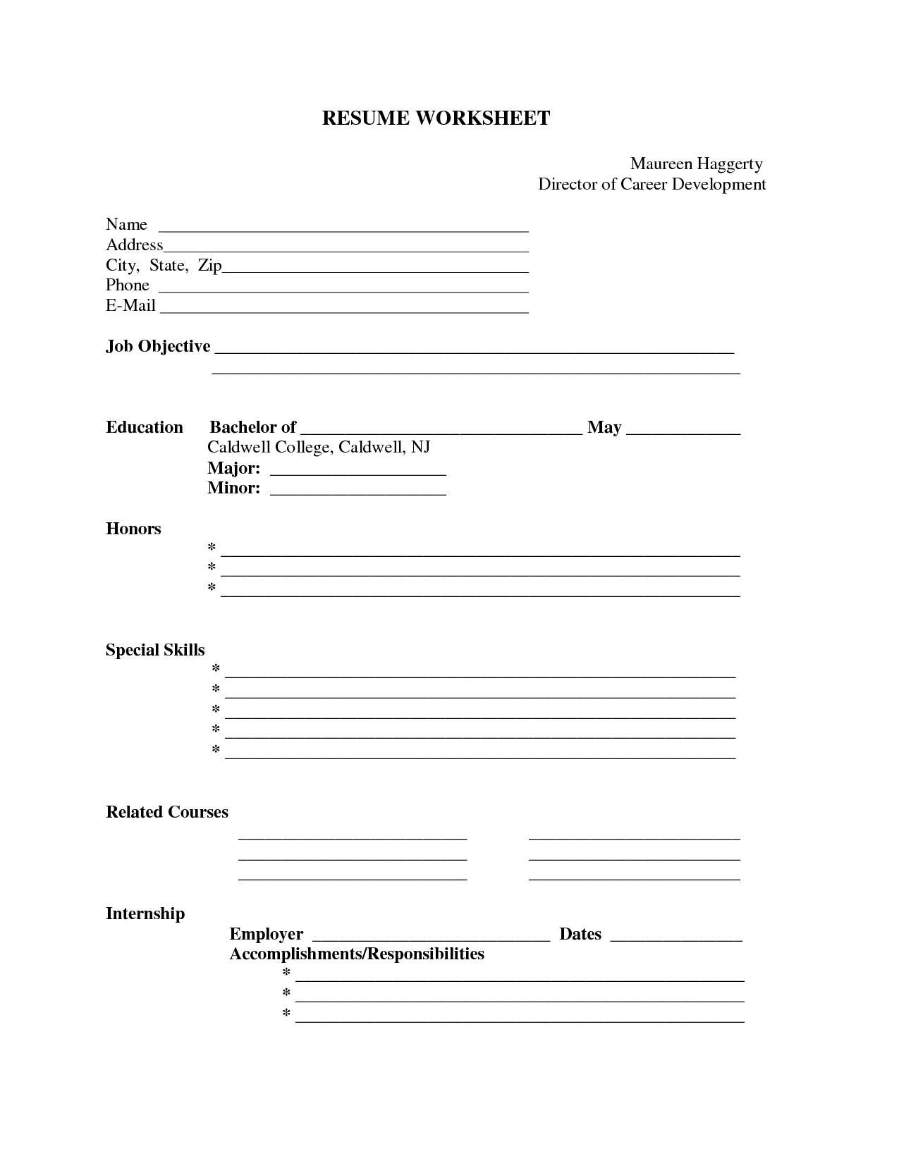 Worksheets Resume Outline Worksheet resume printable template daway dabrowa co template