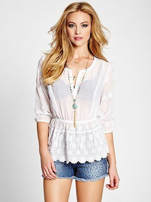Top Guess Embroidered Peasant Quarter On Sleeve Three NPkn8wXO0