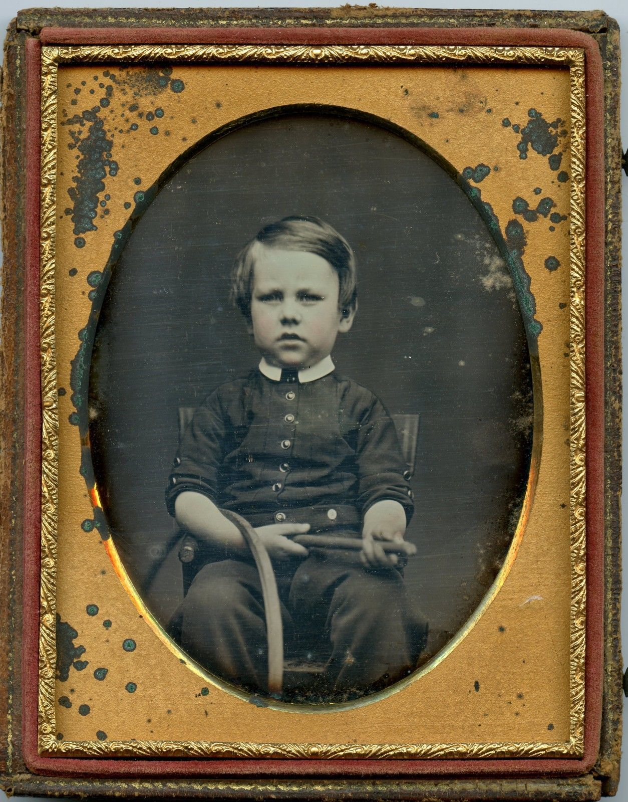 1850 765$$$  4th Plate Daguerreotype of Little Boy with Hoop and Stick Sharp Image | eBay
