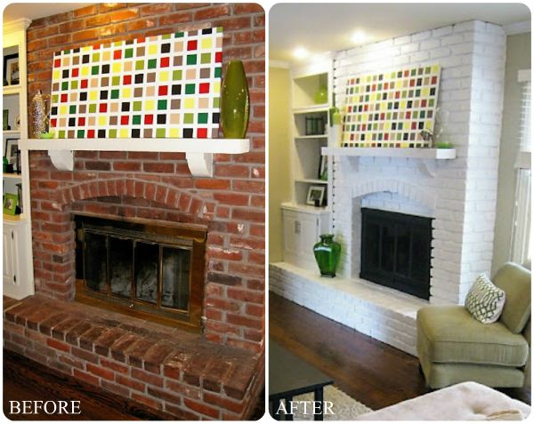 Modern style red brick fireplace makeover ideas pinted - Floor to ceiling brick fireplace makeover ...