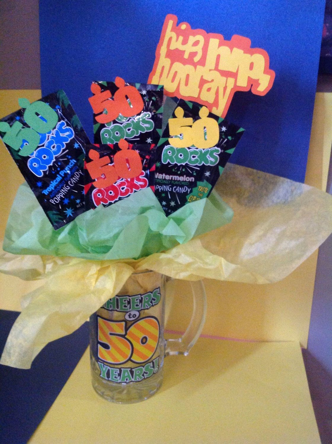 Cheers To 50 Years Rocks Birthday Gift Basket Free Shipping By Megamemories On