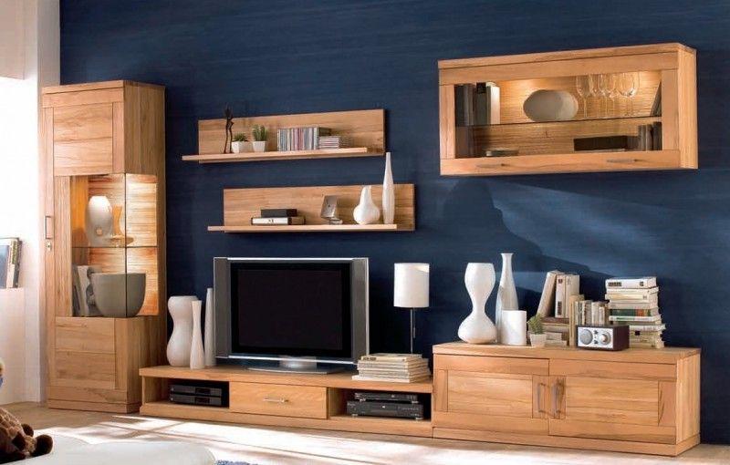 Wohnzimmer Kernbuche ~ Wohnwand wohnzimmer tv board wandboard vitrine hängeschrank