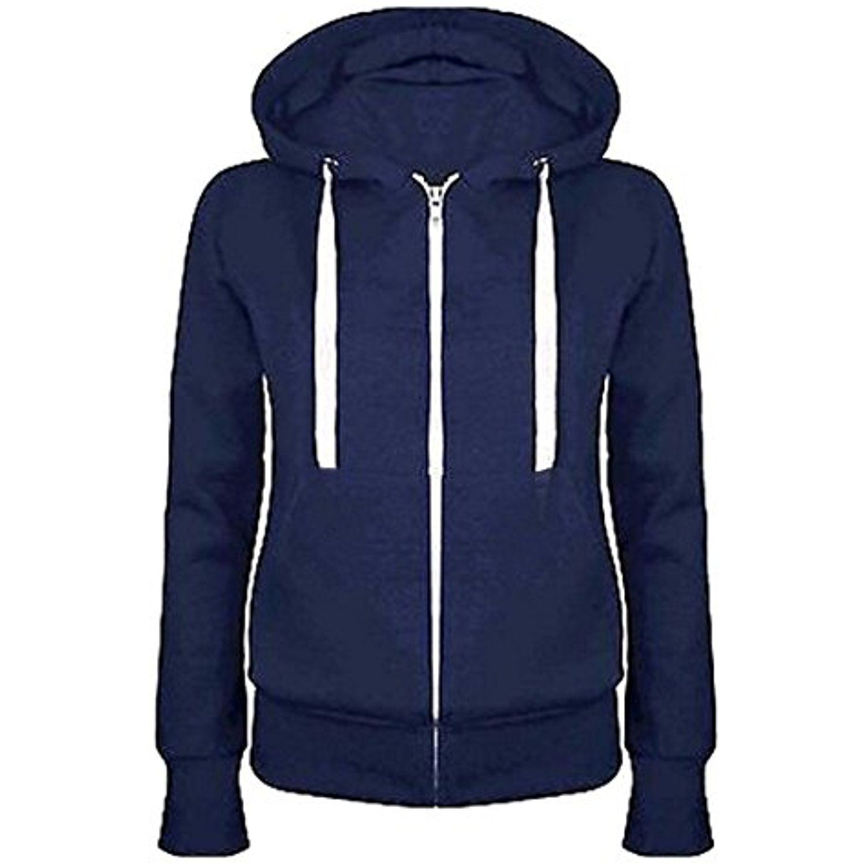 Ladies Womens Plain Zip Up Coloured Fleece Sweatshirt Hoodie Jacket Hooded Top
