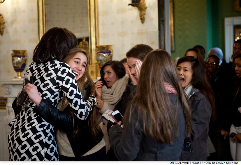 Feb 16 2012 first lady michelle obama greets visitors as they first lady michelle obama greets visitors as they enter the blue room during their tour of the white house feb official white house photo by chuck m4hsunfo