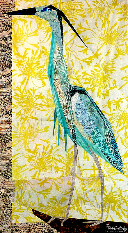 "Great Blue Heron by Ann Shaw, 45 x 24"", paper piecing pattern at Fiddlesticks"