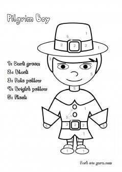 Printable #thanksgiving pilgrim colour by Number