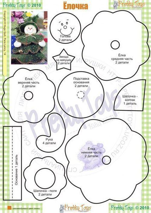 Moldes gratis de peluches navideños en fieltro y tela 09 | pequeños ...