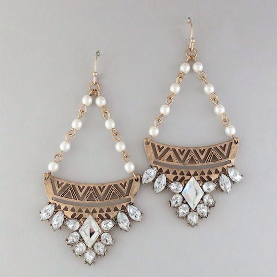 Image of Pearl/gold earrings