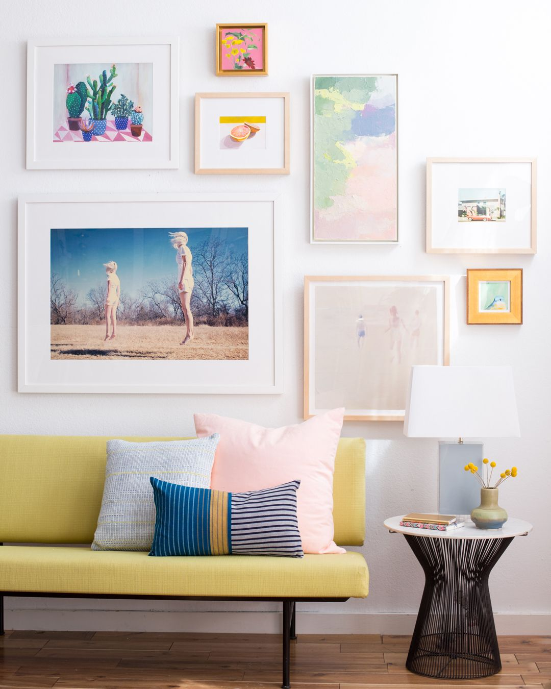 A beautiful pastel gallery wall collab by Emily Henderson and Tappan Collective. | Laurel & Wolf  blog.laurelandwolf.com