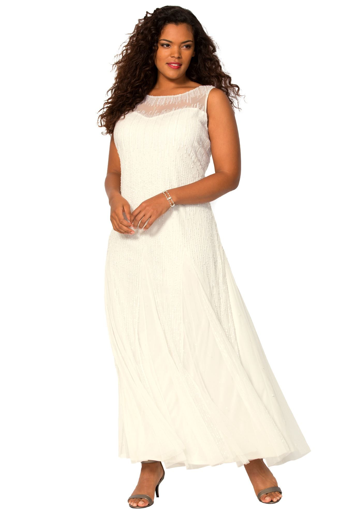 Plus size illusion beaded dress simple wedding pinterest