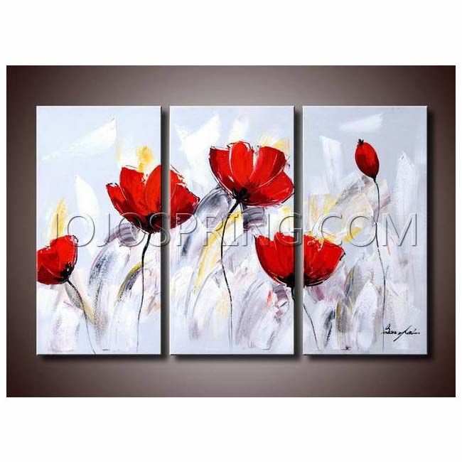 red flower 281 3 piece gallery wrapped canvas art set painting