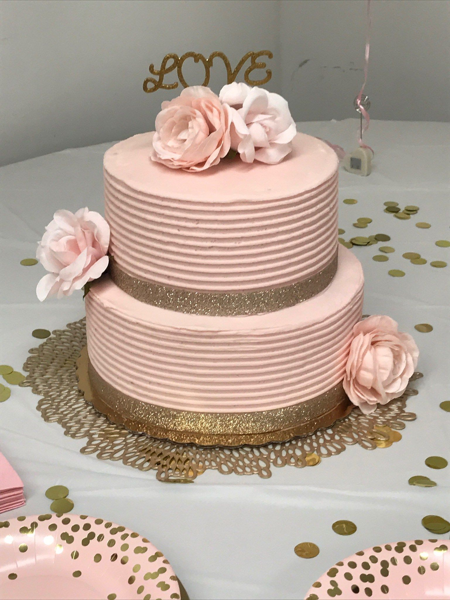 Blush Pink Gold Bridal Shower Ideas Six Clever Sisters Blush Pink Bridal Shower Pink Bridal Shower Bridal Shower Cakes