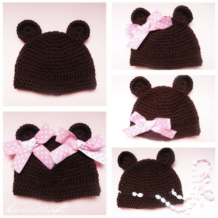 Adorable 'bear girl' crochet and bow child's hat