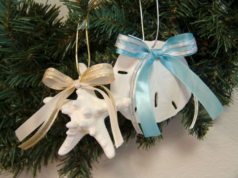 coastal christmas starfish or sand dollar ornament white knobby starfish christmas decor gold or