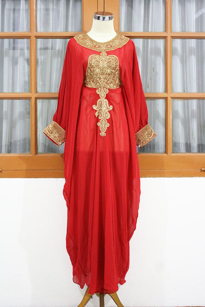 6750fe7f538 LIMITED EDITION - Red Ruby moroccan kaftan Dubai style gold embroidery  abaya maxi dress farasha hijab jalabiya.  62.99