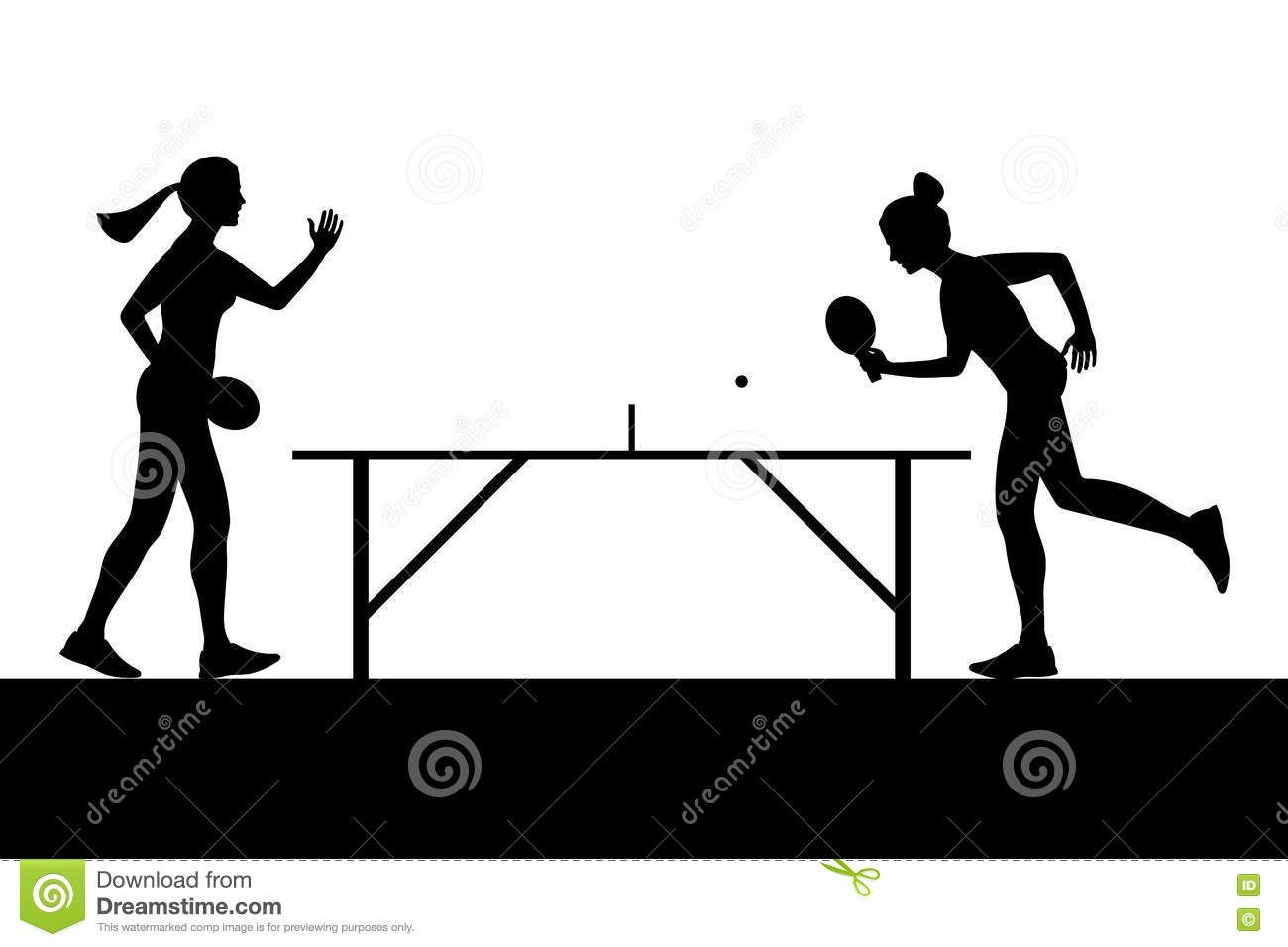 Illustration About Silhouettes Of Girls Playing Ping Pong Vector Illustration Of Illustration Pong Abstract 77967980 Ping Pong Pong Illustration