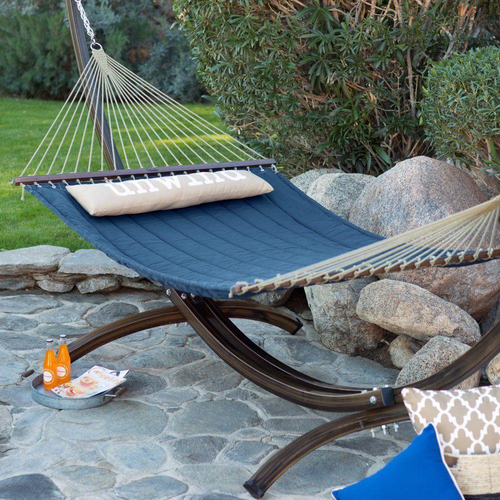 Island bay ft unwind quilted hammock with faux woodgrain steel
