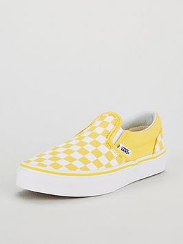 vans white & yellow classic slip on trainers junior
