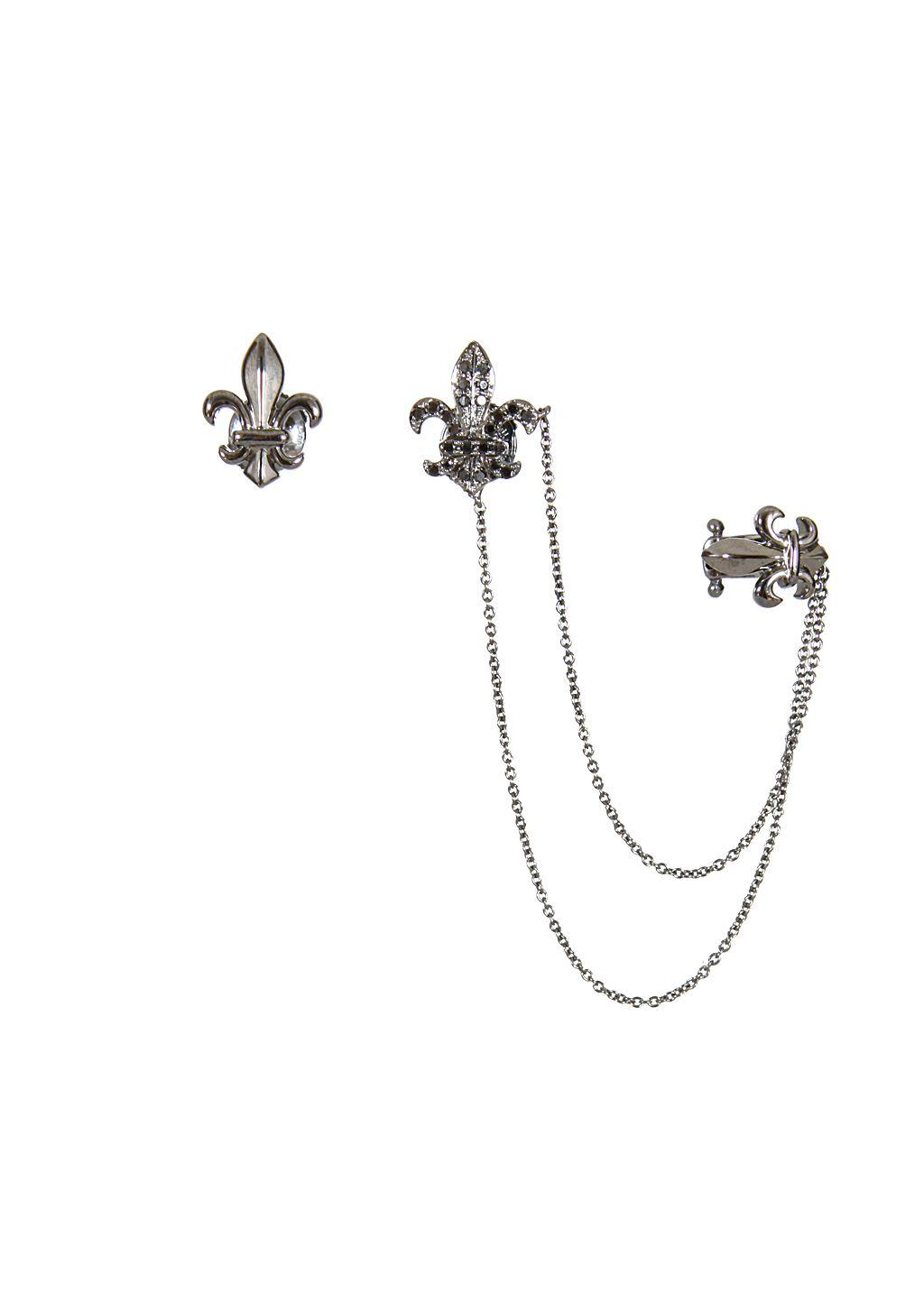 Elise Dray Earrings :: Elise Dray black gold and black diamonds lys flower Rock & Chain earrings | Montaigne Market