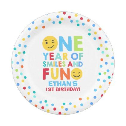 Emoji Birthday Party Paper Plate Smiley Face
