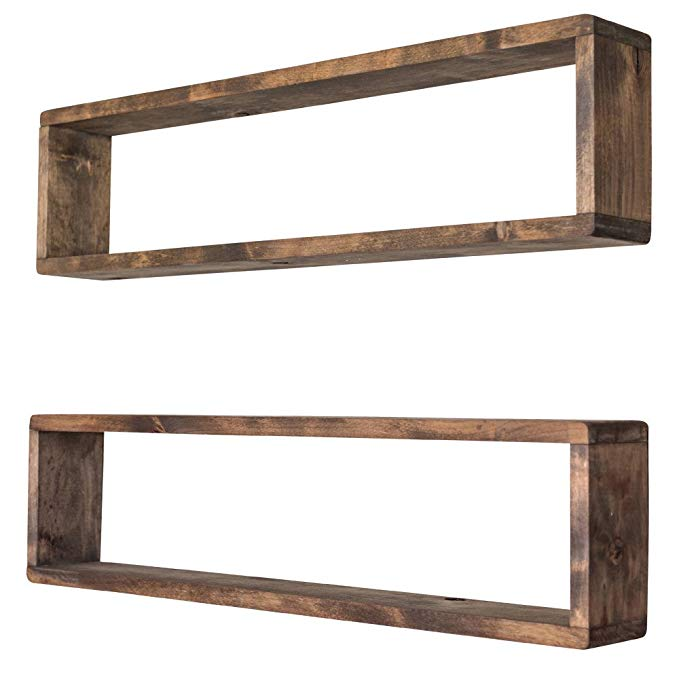 Amazon Com Drakestone Designs Stackable Floating Box Shelves Set Of 2 Solid Wood Wall Mount Modern Rustic Wall Shelves Box Shelves Wooden Box Shelves