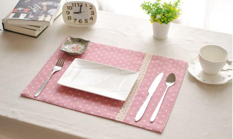 Eco Friendly Mat Coaster Cotton Linen Placemat Pink Dining Table