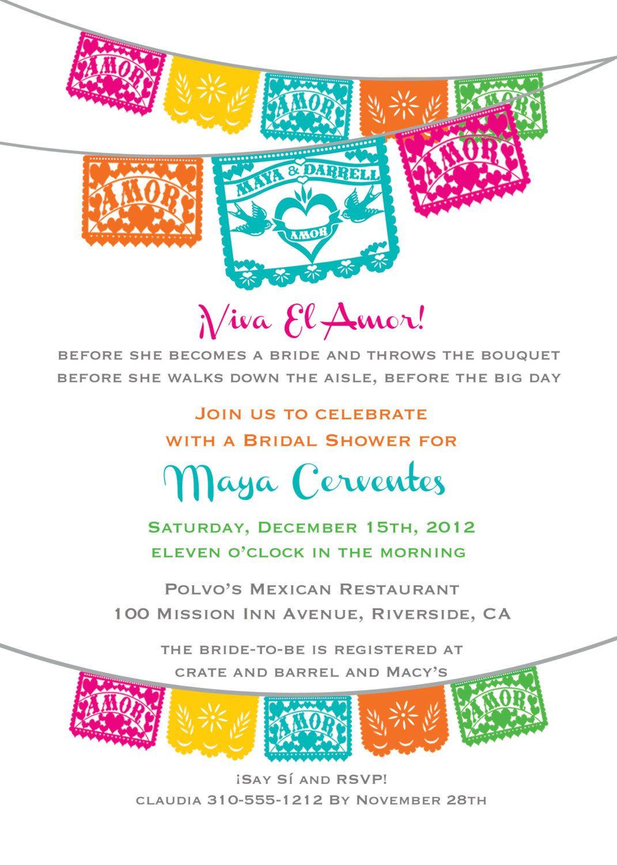 etsy wedding shower invitations Viva El Amor Bridal Shower Fiesta Papel Picado Invitation Love birds I design you