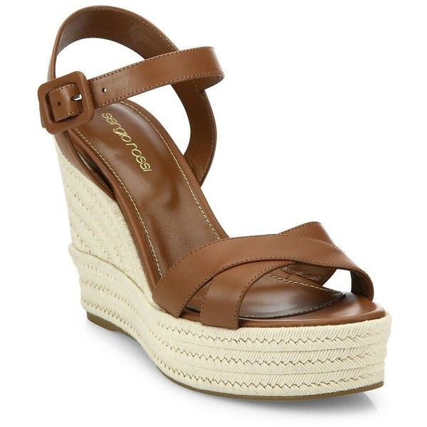 Sergio Rossi Maui Leather Wedge Sandals (1.790 BRL) ❤ liked on Polyvore featuring shoes, sandals, baobab, leather ankle strap sandals, leather sandals, strap wedge sandals, ankle wrap wedge sandals and strap sandals