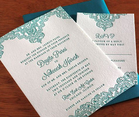An intricate motif adorns the top and bottom of our letterpress - best of invitation wordings hindu wedding