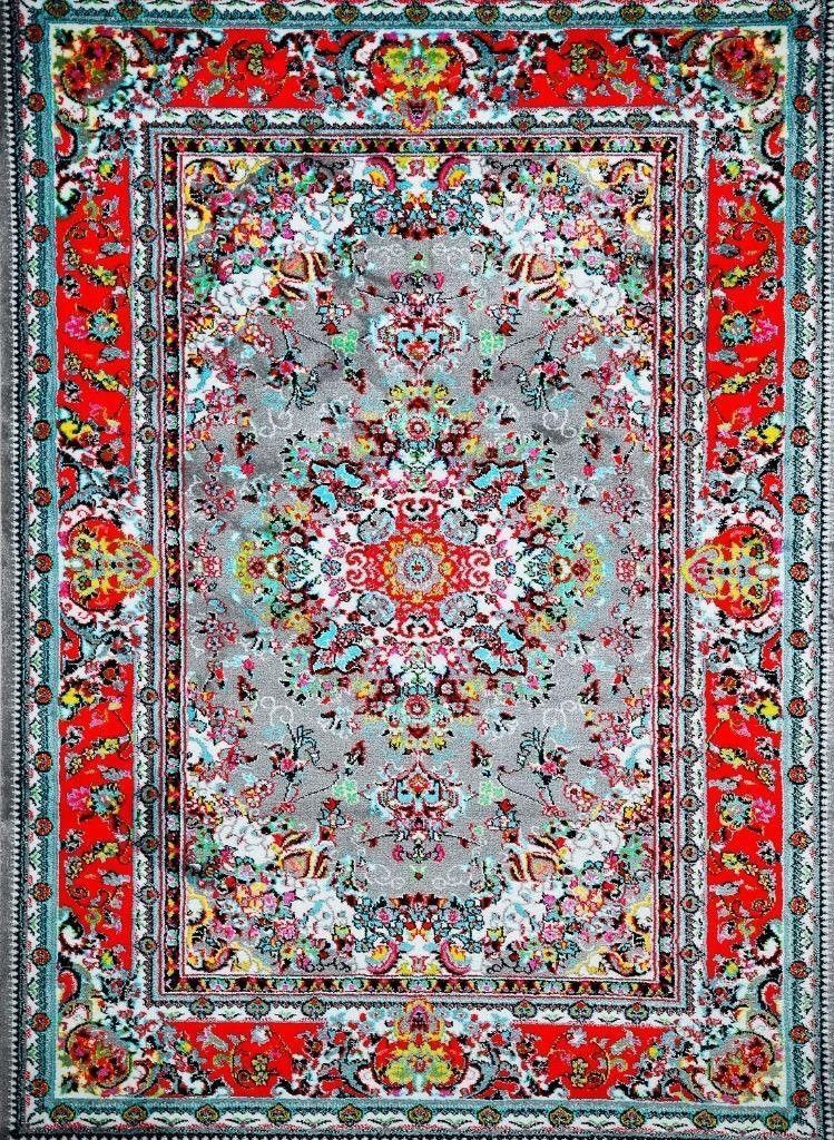 Gray Red Oriental Grey Colorful Persian Isfahan Area Rugs 2x4 5x8